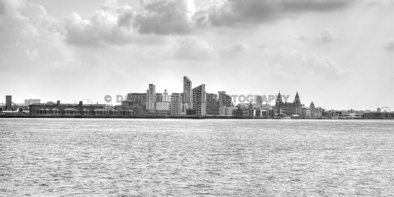 Liverpool From The Wirral (monochrome)