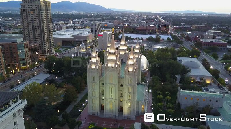 Salt Lake Temple Downtown Salt Lake City Drone Video Utah USA