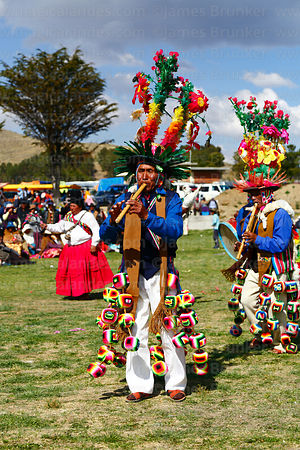Mucululus musicians playing pinquillos at festival in Compi Tauca, La Paz Department, Bolivia