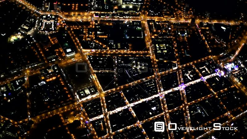 Night aerial video Old Town area and inner city center in Potsdam in the state of Brandenburg, Germany