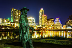 Stevie Ray Vaughan Memorial with Austin TX Skyline