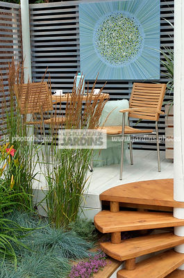 Garden chair, garden designer, Garden furniture, Garden table, Perennial, Stair, Terrace, Trellis, Contemporary Terrace, Digital, Grasses