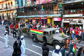 The remains of Eduardo Abaroa arrive in Plaza Avaroa on a gun carriage, La Paz, Bolivia