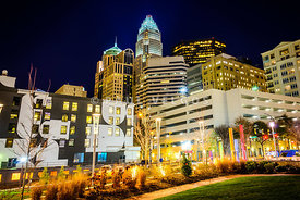 Charlotte NC Downtown City at Night Photo