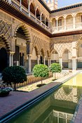 Courtyard of the Maidens in the Alcazar of Seville, Spain