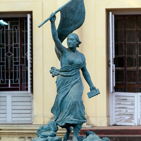 A statue of Liberty stands outside outside the museum in Chandannagar, originally the home of Joseph François Dupleix who was...