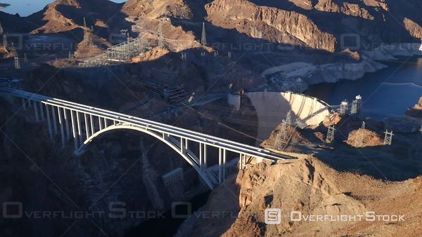 Las Vegas, Nevada, USA  Aerial Footage of Colorado River Bridge Near Hoover Dam