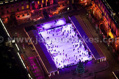 Aerial view of Somerset House Ice Rink at night. London