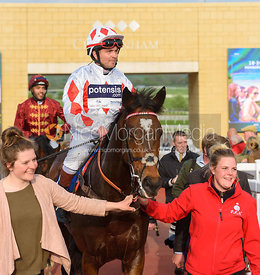 Ben Hobday under the Cheltenham arch - Champions Willberry Charity Flat Race - Cheltenham Racecourse, April 20th 2017