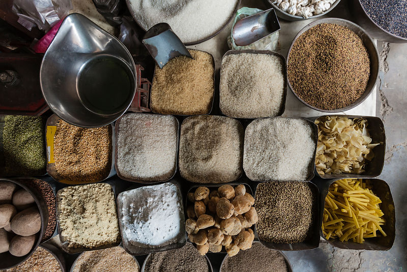 Vertical View of Grains and Spices