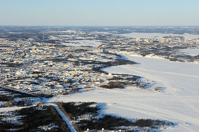 Aerial view of Yellowknife, mining city and capital of the diamont, Northwest Territories, Canada