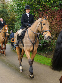 Anna Hanson  arriving at the meet - The Cottesmore Hunt at Little Dalby 7/2
