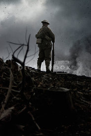 An atmospheric image of a standing British soldier in WW1.