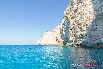 Blue sea and high cliffs. Zakynthos, Greek Islands, Greece