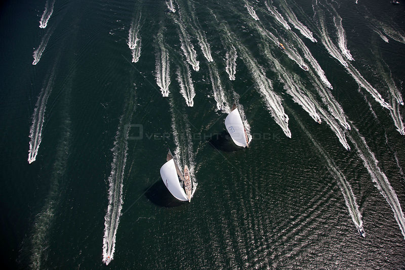 "Aerial view of J-class yachts ""Ranger"" and ""Velsheda"" pursued by support boats during the J Class Regatta, Newport, Rhode Isl..."