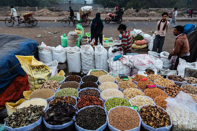 Goods at a Spice and Dry Food Market