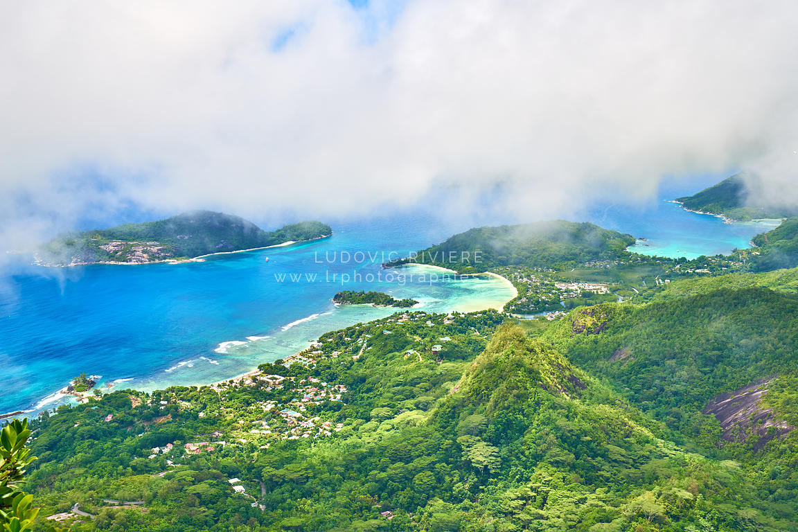 Panoramic view on port glaud and port launay from panoramic view on Morne Blanc, Seychelles, Mahe