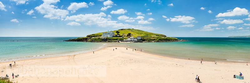 Panoramic view of Burgh Island from Bigbury beach (BP5352)