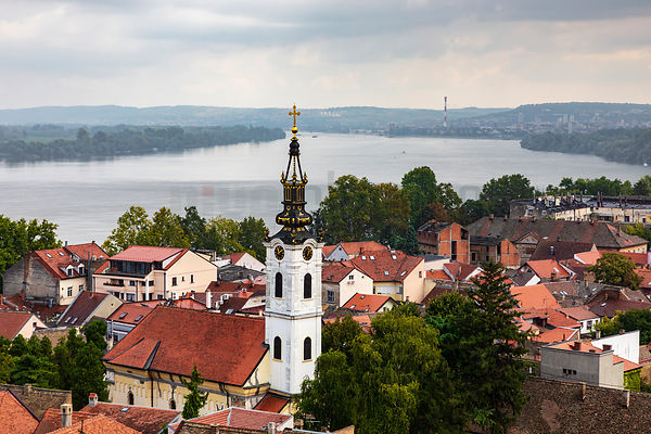 Church of St Nicolas with the Confluence of the Sava and River Danube in the Background