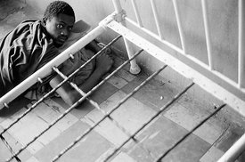 Inmate at Kissy Mental Hospital in Freetown, Sierra Leone