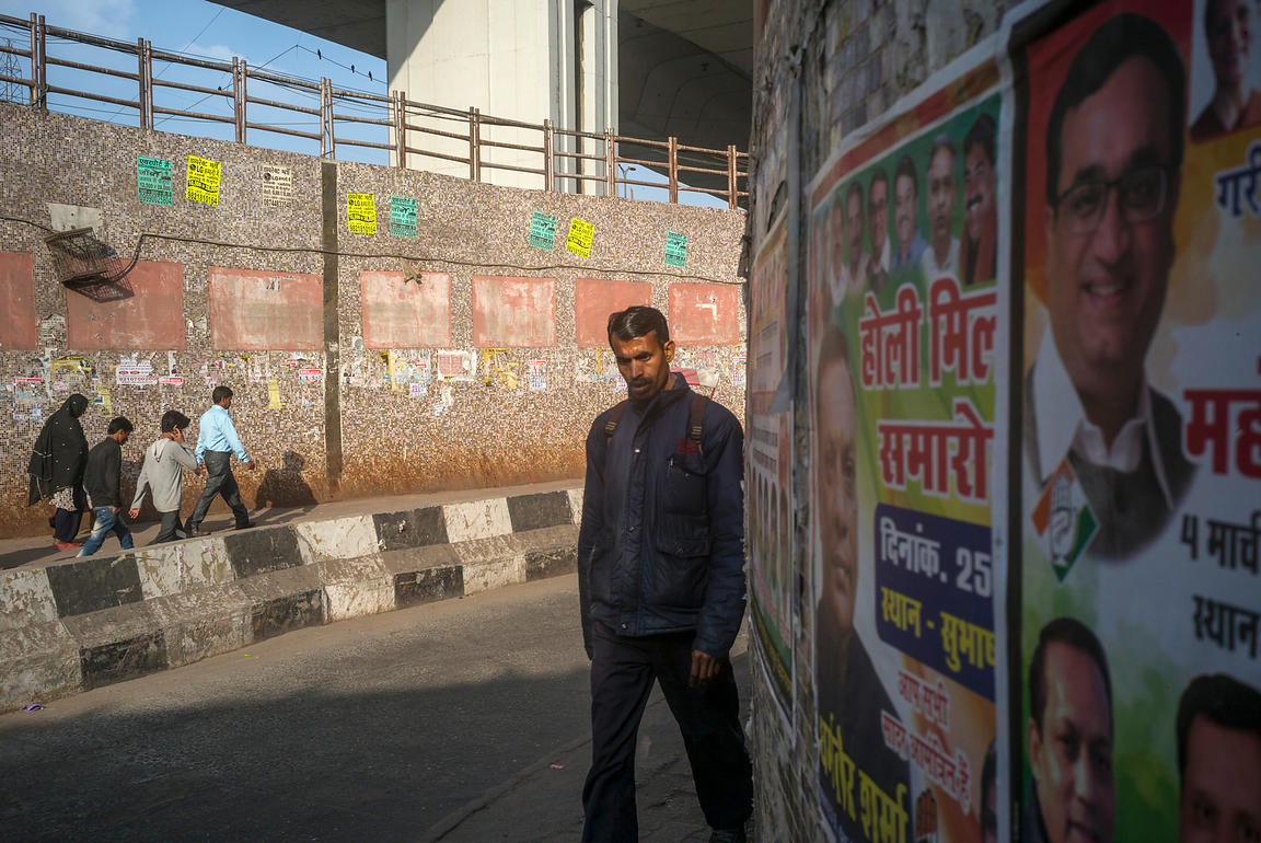 A Man Walks Through An Underpass, Delhi