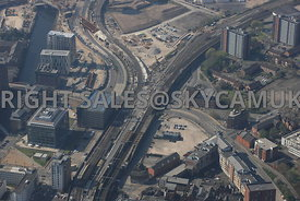 Salford Central Railway Station showing the construction of the Ordsall Chord link and the railway link to Salford Cresent