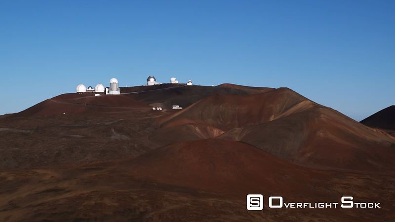 Mauna Loa Observatory with cinder cones in foreground, Hawaii.