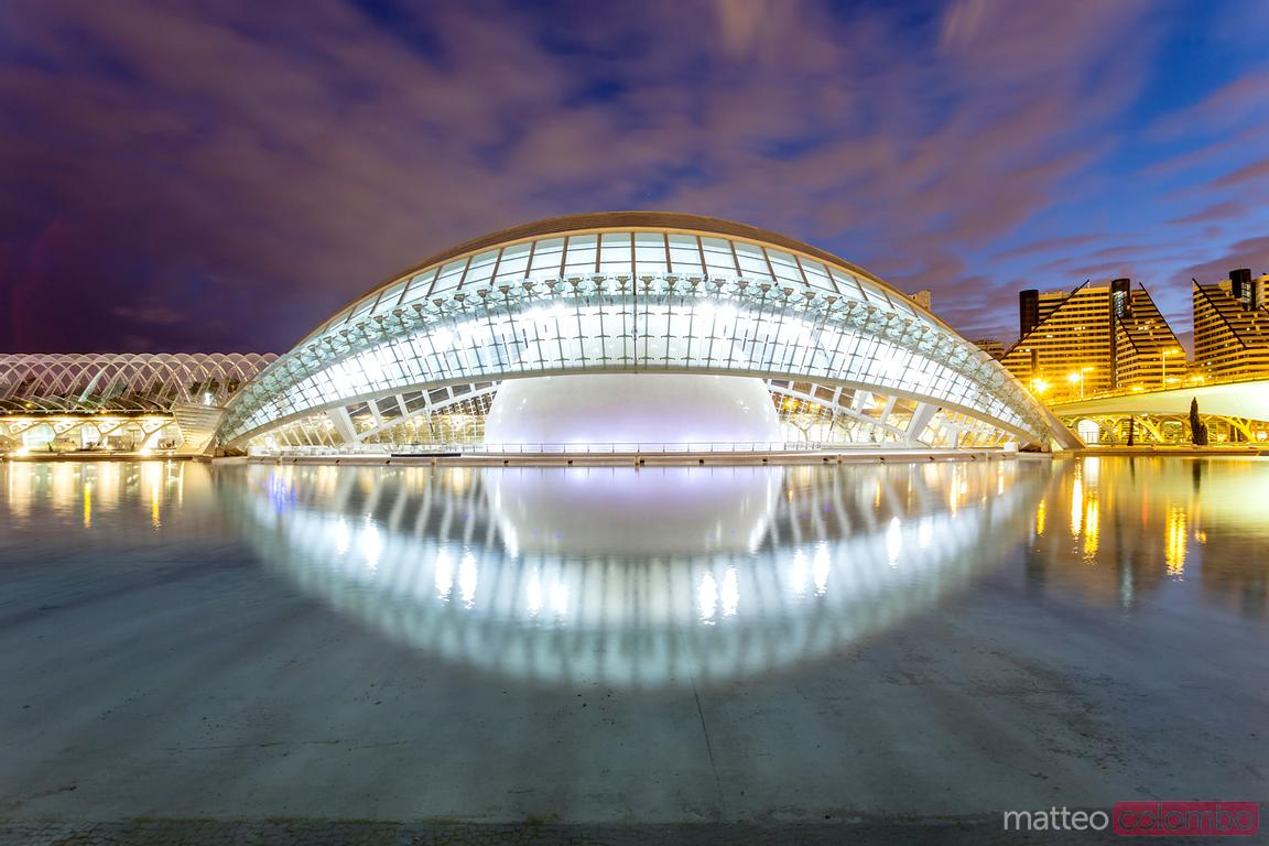 The Hemispheric at dusk, City of Arts and Sciences, Valencia, Spain