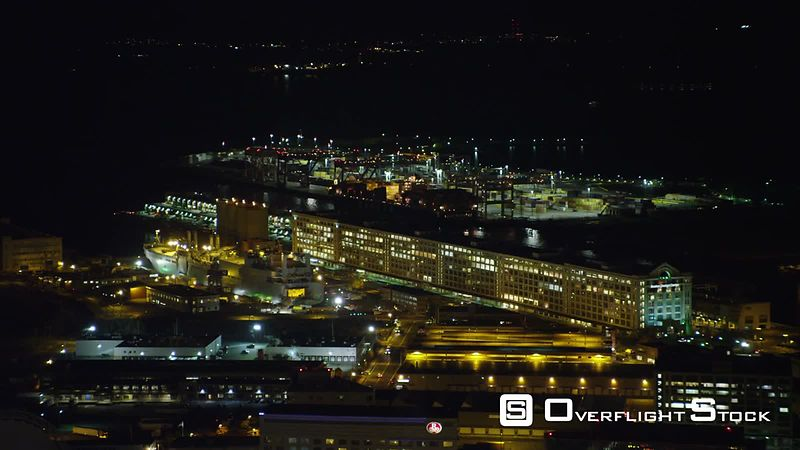 Over Boston Waterfront at Night. Shot in November