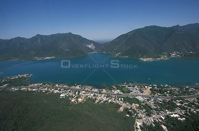 Aerial view of dammed valley for reservoir, La Boca, Nuevo Leon, Mexico