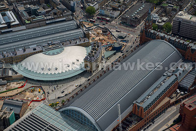 Aerial view in close-up of King's Cross St. Pancras Station, London