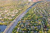 Aerial of suburb near Englewood New Jersey, USA