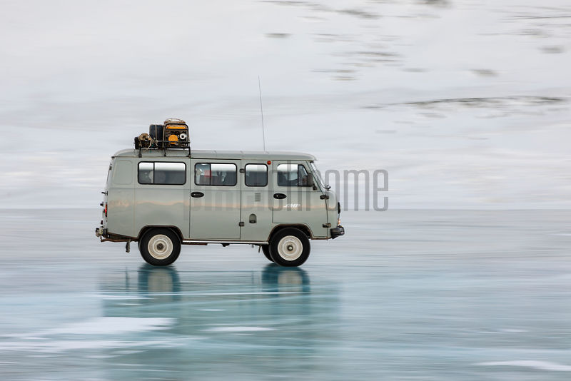 A Russian-made Furgon Van Crosses Frozen Black Lake