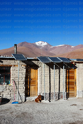 Solar panels next to adobe house at Laguna Colorada, Eduardo Avaroa Andean Fauna National Reserve, Bolivia