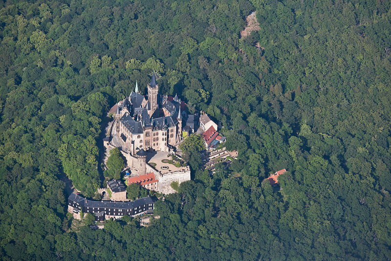 Aerial view of Castle Wernigerode surrounded by forest, Saxony-Anhalt, Germany,