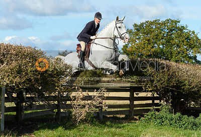 Zoe Mossman jumping a fence at Gartree. Quorn Hunt Opening Meet 2018