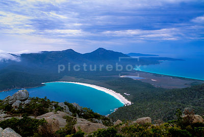 A colourful travel image of Wineglass Bay, Tasmania.