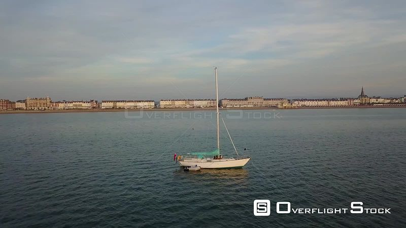 Sailboat off Weymouth Dorset Drone Video Southern England