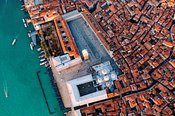 Aerial overhead view of St Mark's square, Venice, Italy