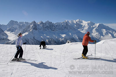 Skiing under the Mont Blanc Range