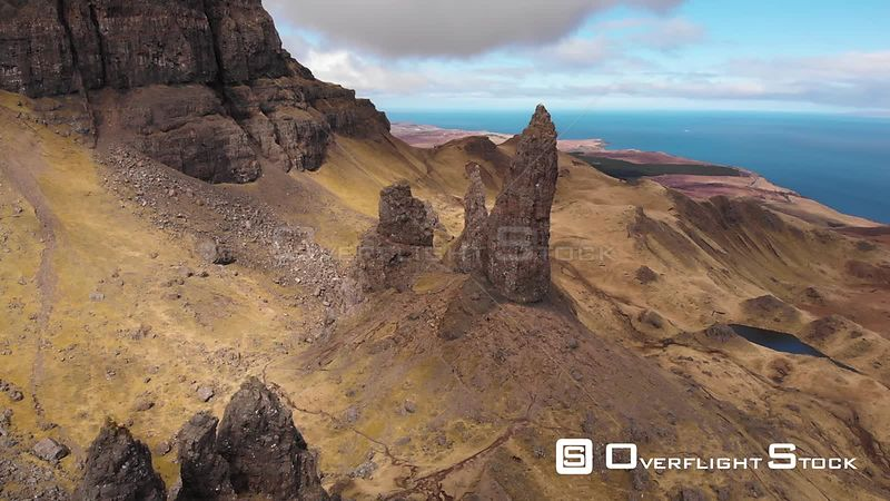 Aerial drone shot of the Old Man of Storr on a sunny day, Isle of Skye, Scotland