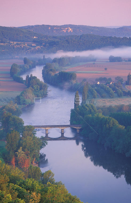 Aerial view of Dordogne Valley from Domme, Quercy, France