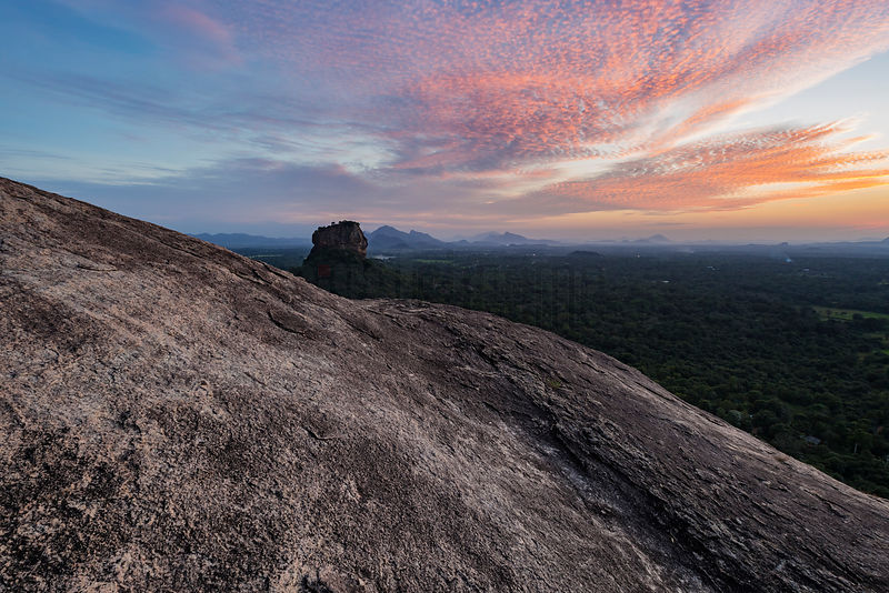 Sigiriya Rock from the Summit of Pidurangala Rock at Sunset