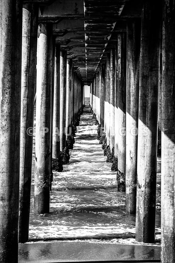 Under Huntington Beach Pier Black and White Picture