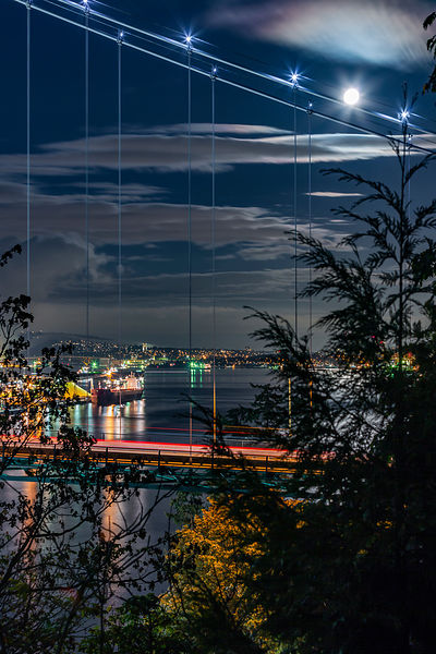 The Moon and Lions Gate Bridge