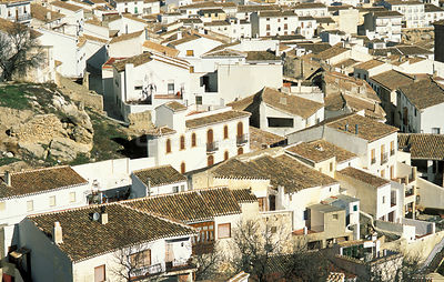 Aerial view of white houses in village, Almeria, Andalucia, Spain