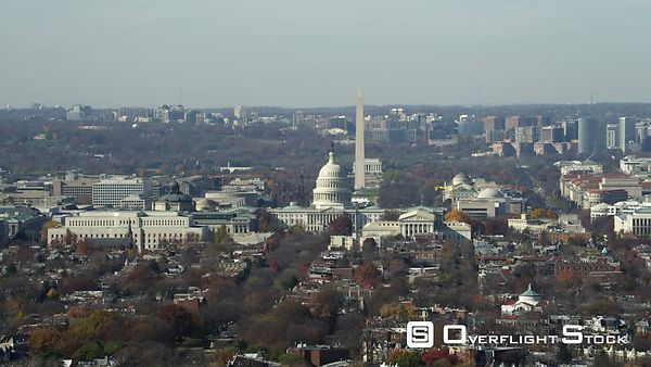 Over Capitol Hill, looking down the National Mall. Shot in November