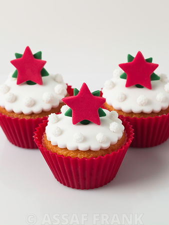 Christmas cupcakes with star shaped decoration
