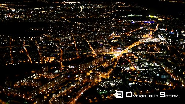 Night aerial video Cityscape from downtown area in Leipzig in the state of Saxony, Germany