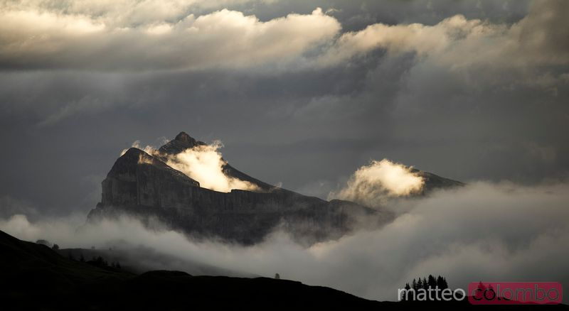 Dramatic light over sasso croce peak in the Dolomites at sunrise